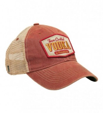 TEAM COCKTAIL Vodka Is Awesome Mesh Trucker Hat - Cardinal Hat (Red w/ Gold) - C711MW1TVLB