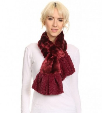 Sakkas Nadia Long Thin Soft Warm Comfort Faux Fur Scarf With Flare Ruffle Ends - Burgundy - CY12MWYCO7A