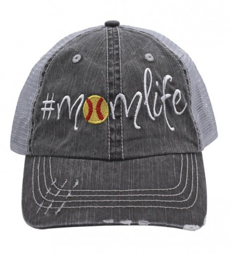 Softball Momlife Women Embroidered Trucker Style Cap Hat Rocks any Outfit - C6182M746TZ