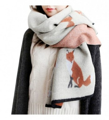 IMLECK Winter Fashion Stylish Fringe Cartoon Small Fox Cashmere Feel Long Pashmina Scarf - A - CO12N60GLRA