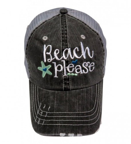 "Embroidered ""Beach Please"" Distressed Look Grey Trucker Cap Hat - Mint - CD12ILBDY63"