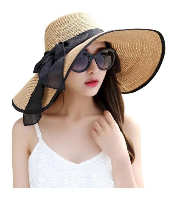 e35170b9079c6 JOYEBUY Women s Floppy Big Brim Hat Bowknot Straw Hat Foldable Roll up Sun  Hat - Khaki
