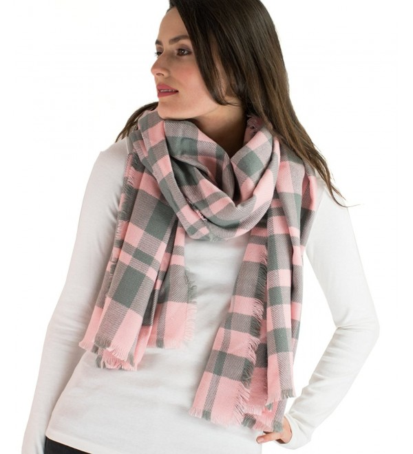 Classic Simple Plaid Blanket Scarf - Gray/Pink - C1126IRWZXP