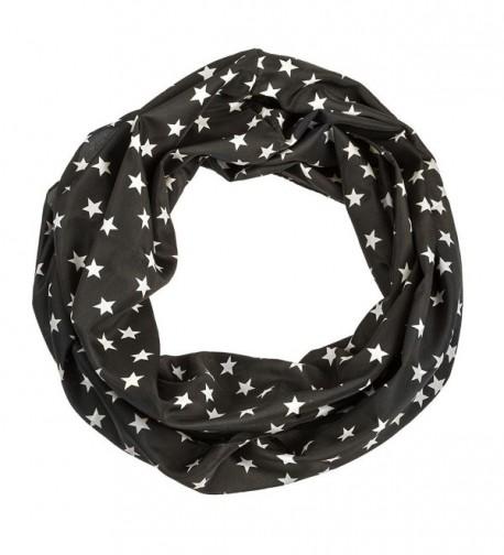 Star Print Infinity Scarf - Black - C011VWZSX67