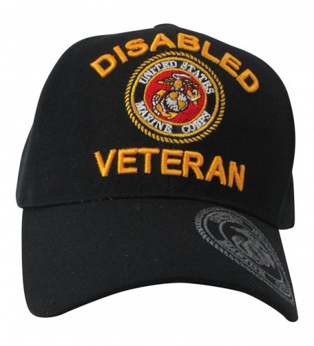 US Marine Corps Disabled Veteran & USMC Insignia on Visor Baseball Hat- Black - CH11N5Q49TL