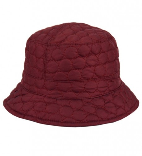 CL2396 Foldable Water Repellent Quilted Rain Hat w/ Adjustable Drawstring- Bucket Hat - Burgundy - CW12N8YY6V1