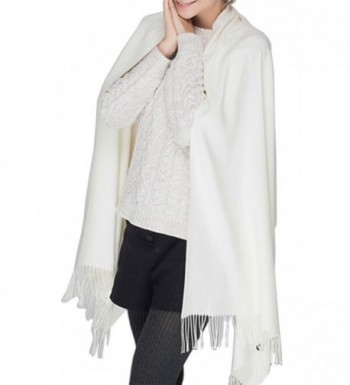 Winter Womens Large Soft Warm Pashmina Cashmere Blanket Scarf Solid Color Tassel Shawl(14 colors) - White - C0187CECR9C