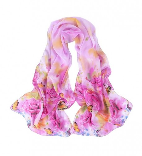 Reversible Butterfly Sheer Voile Shawl 16050CM Women Scarf for Clothes Decorating - Purple - CN182E0DCTD