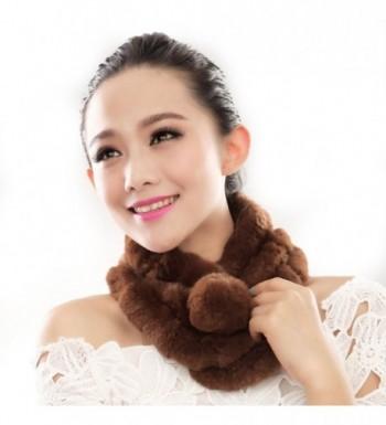 URSFUR Women Winter Fur Pull Through Scarf Soft Rabbit Pom Neck Collar Scarves - Brown - C111FG59Z6B