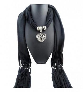 Sunward Womens Elephant Water Drop Owl Heart Pendant Tassel Charm Jewelry Scarf - Heart-Black - C012901YMNR