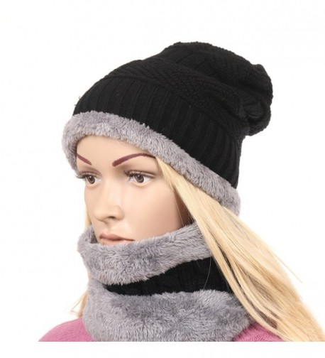 e845b7c13e7 Women s Beanie Hats Winter Warm Thick Chunky Cable Knitted Cap Black ...