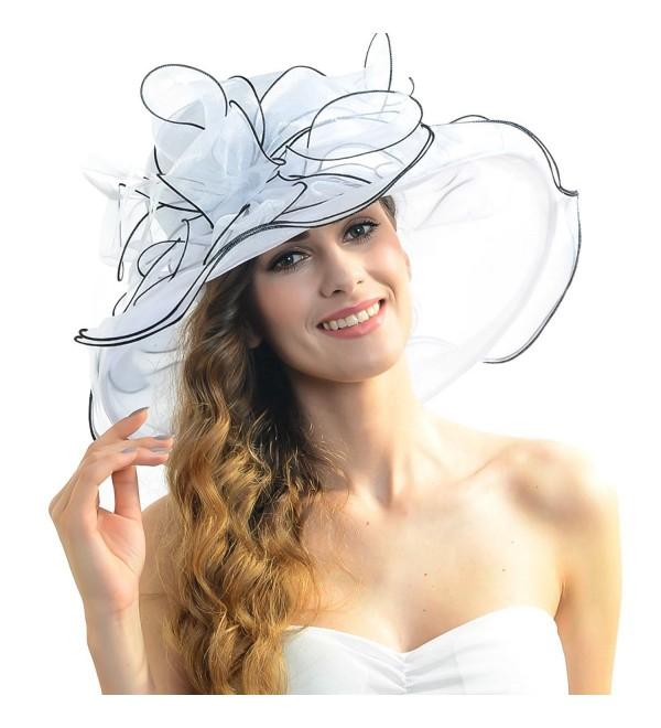 Women Floral Wide Brim Church Derby Kentucky Dress Hat (4 Colors) - S056-white - CM12DICXWBR