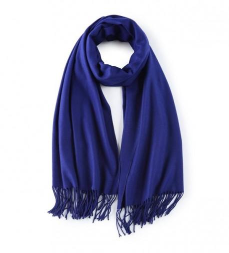 Cashmere Poncho Blanket Scarfs Fringe - Blue - C0188GX2UOK