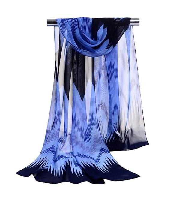 GERINLY Chiffon Scarves Chevron Pattern Shawl Sheer Scarf - Blue - C912O0FW48O