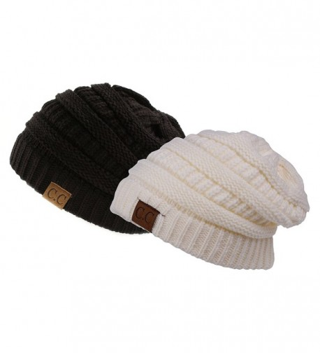 fb9170b951f Trendy Warm Chunky Soft Stretch Cable Knit Slouchy Beanie Skully- Gift  Set-Black