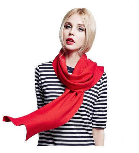 MUNI Winter Cashmere Wool Women Scarf Warm Fashionable Solid Shawl- in an Elegant Gift Envelope Box - Red - CJ12N6IHDAZ