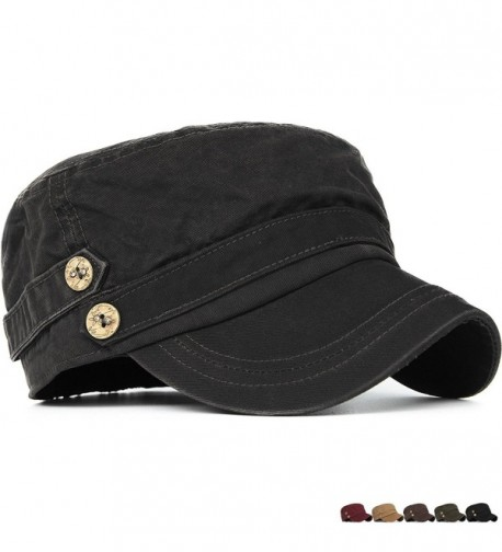 Rayna Fashion Unisex Adult Cadet Caps Military Hats Low Profile Elastic - Black - C9185UIO37I