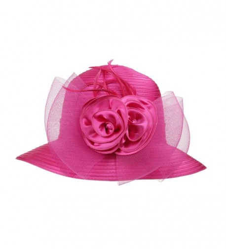 Dantiya Women's Organza Wide Brim Floral Ribbon Kentucky Derby Church Dress Sun Hat - 2 Style-rose - CQ183W3SAY8
