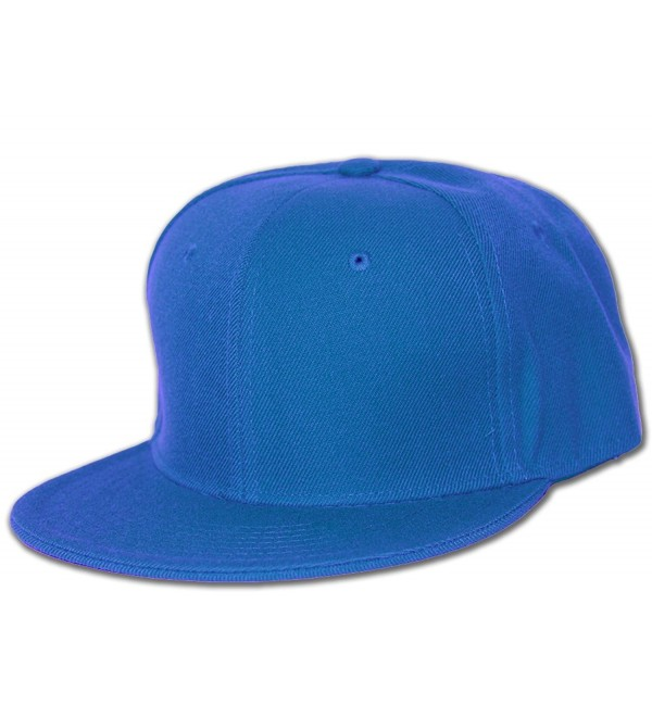 Blank Flat Bill Baseball Hat - Royal - C2112BXZYVB