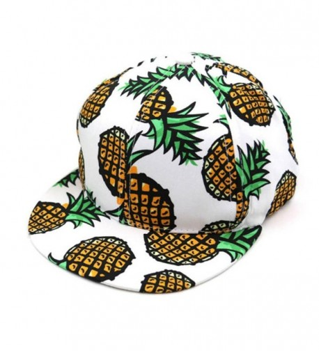 Kemilove 1PC Pineapple Snapback Bboy Hat Adjustable Baseball Cap Hip-hop Hat Unisex - White - CC12IFTX26X