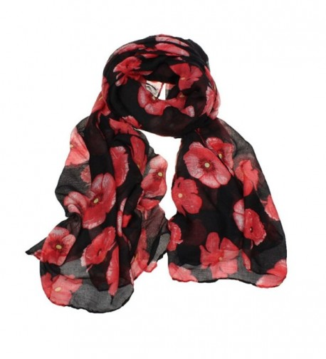 Wensltd Clearance Red Poppy Print Voile Scarf Floral Stole Shawl - Black - CT12C27DQ83