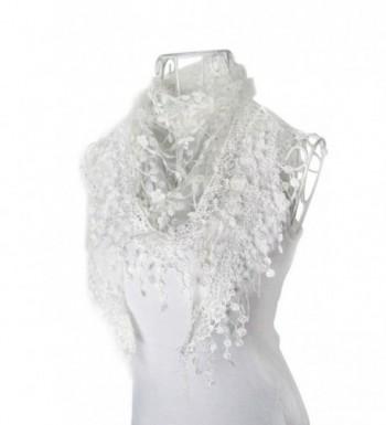 DaySeventh Fashion Lace Tassel Sheer Burntout Floral Print Triangle Mantilla Scarf Shawl (White) - C211GK3XYAF