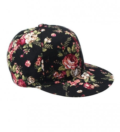 Febecool Women Fashion Floral Printed Snapback Baseball Cap Hiphop Adjustable Hat - Black - C012ODVZ2F6