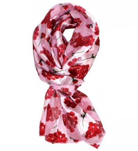 Ted and Jack - Valentines Day Silk Feel Scarf - Pink Roses - CE12BW7LCDF