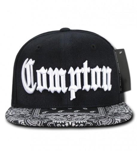 Compton Flat Bill Snapback Black Adjustable Baseball Cap Hat - Bandana Brim - CJ12BNVPAYV