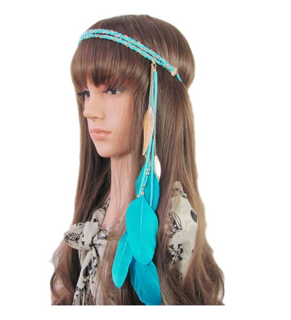 BUYITNOW Women Feather Headband Stretchy Braided Leaf Bead Hair Tassels - Blue - CR17YEDGUSZ