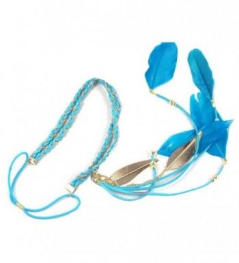 BUYITNOW Feather Headband Stretchy Braided