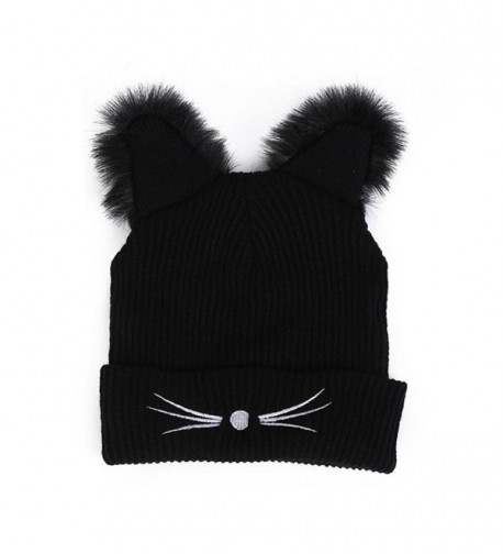 Vcenty Womens Winter Cute Warm Knitting Crochet Beanie Pompom Ski Skulls Cap Hats With Cat Ear - CG188UZRM05