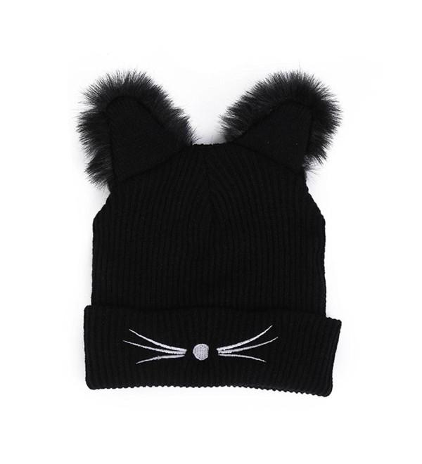 Vcenty Womens Winter Cute Warm Knitting Crochet Beanie Pompom Ski Skulls Cap Hats With Cat Ear - CG188UZRM05