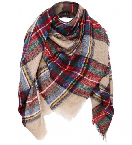Women's Plaid Scarf Oversized Fall/Winter Blanket Wrap Shawl - Camel - CC187N38MQX