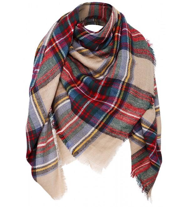 Women's Plaid Scarf Oversized Fall/Winter Blanket Wrap Shawl - Camel - CC187N38MQX