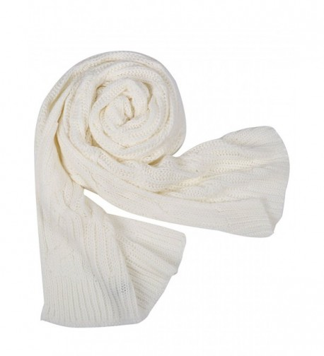 Glamaker Women's Soft Wrap Shawl Long Scarves Knit Pashmina - White - CO184TWOYII