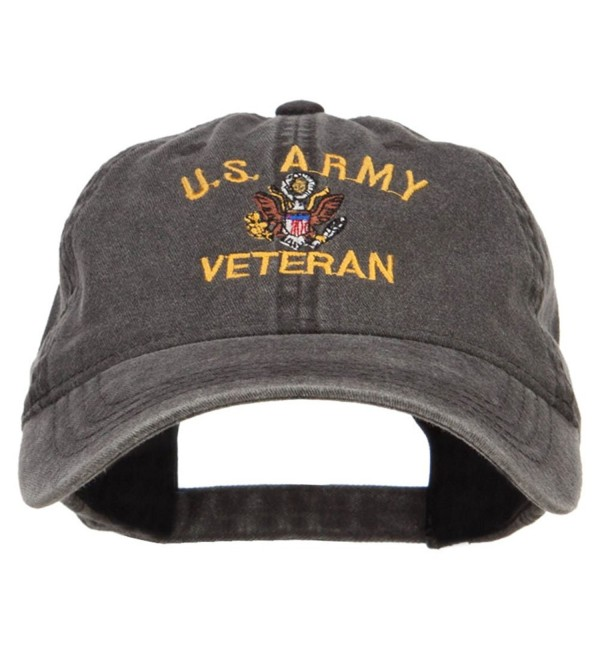 E4hats US Army Veteran Military Embroidered Washed Cap - Black - CB17XXGQOMS