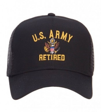 E4hats US Army Retired Military Embroidered Mesh Cap - Black - CU124YM8LYX