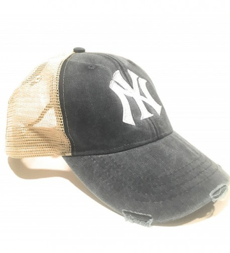 Mary's Monograms Monogrammed NY Yankees Navy Blue Distressed Trucker Hat - CD1822Y7M88