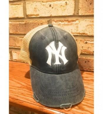 Marys Monograms Monogrammed Yankees Distressed in Men's Baseball Caps