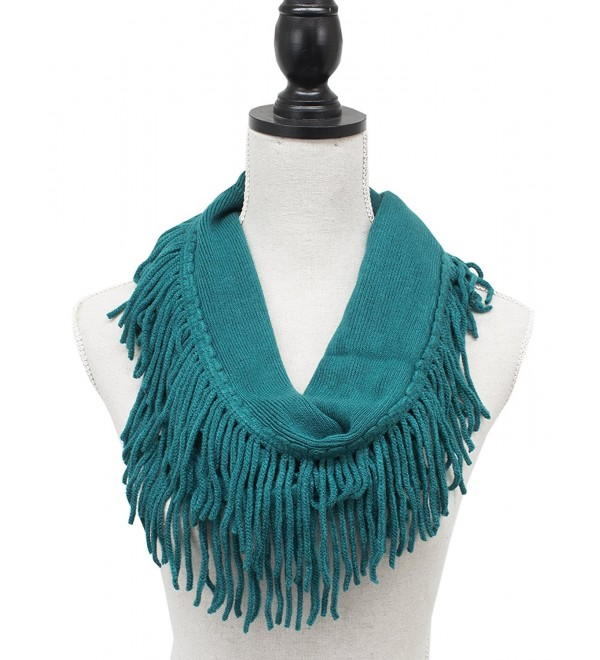 StylesILove Knitted Lightweight Infinity Fringe Womens Fashion Scarf-3 Color - Turquoise - CT126FZ2067