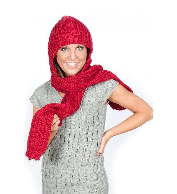Womens Winter Knit Hooded Scarf Headscarf Neckwarmer Hoodie Hat Red