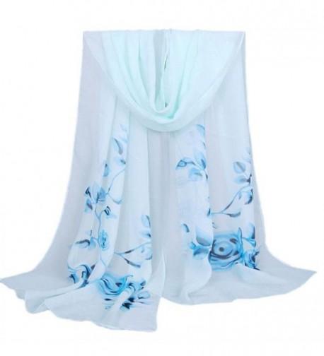 """Women's Fashion Long Shawl Buedvo Ladies Chiffon Soft Wrap Flowral Print Scarf (63""""x19.7""""- Blue) - CL12O67Y2RZ"""