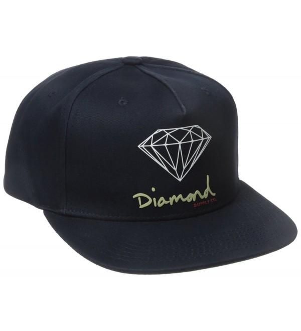 Diamond Supply Co Men's OG Script Brilliant Snapback - Navy - CN12BMIKAFT