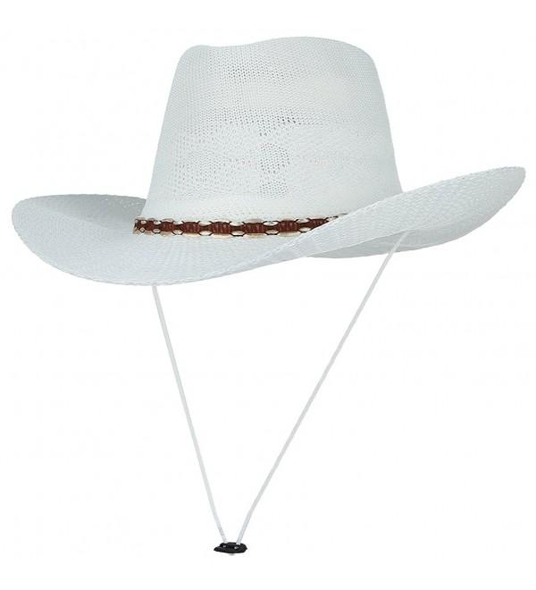 La Vogue Men Classic Wide Brim Woven Hollow Sombrero Beach Sun Cowboy Hat White - CP17YYZAZRW