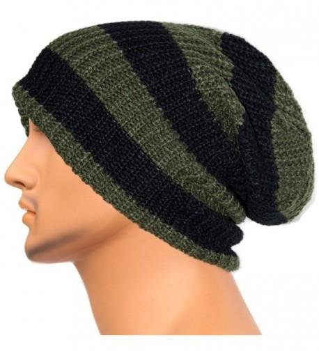 Rayna Fashion Unisex Beanie Hat Slouchy Knit Cap Skullcap Stripe Baggy Style 1002 - Green - C2128MYT5DZ