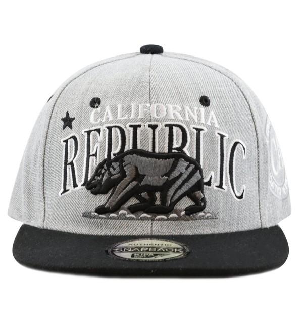 "The Hat Depot 1300A New ""Republic California"" Soft Heather Grey Snapback Cap - Black - CU12E06HCWZ"