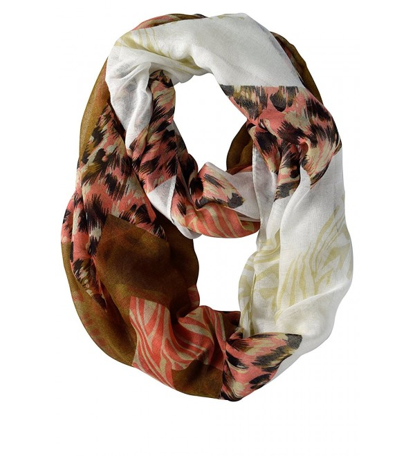 Peach Couture Animal Print Wide Chevron Design Summer Infinity Loop Scarf - Pink and Brown - CT11KYOR9SP