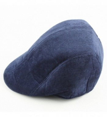 Aoneitem Men's Navy Blue Corduroy Winter Warm Newsboy Flat Cabbie Beret Ivy Cap Hat - CB11PQOMVQD