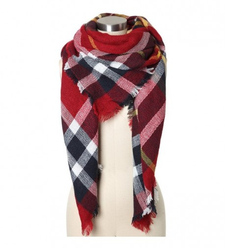 Wonderfit Women Plaid Blanket Scarf Large Tartan Shawl Wrap - Wine Red - C612N0C10TI